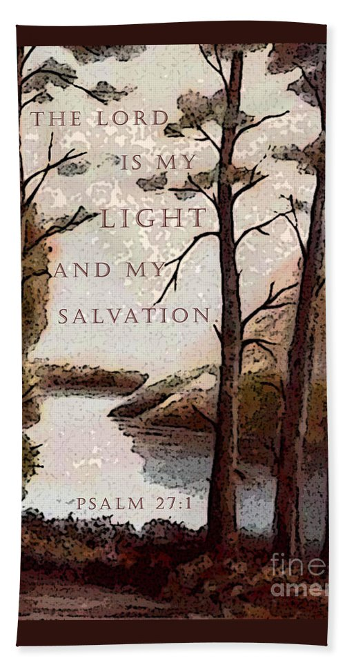 Semi-abstract Nature Hand Towel featuring the painting The Lord Is My Light by Hazel Holland