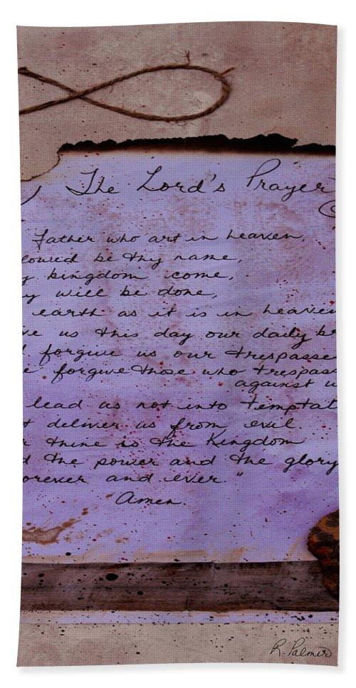 ruth Palmer Bath Sheet featuring the mixed media The Lord's Prayer Collage by Ruth Palmer