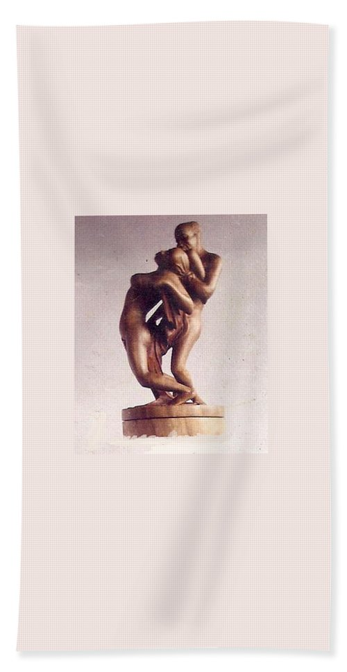 African Art Hand Towel featuring the sculpture The Lovers by Emmanuel Baliyanga
