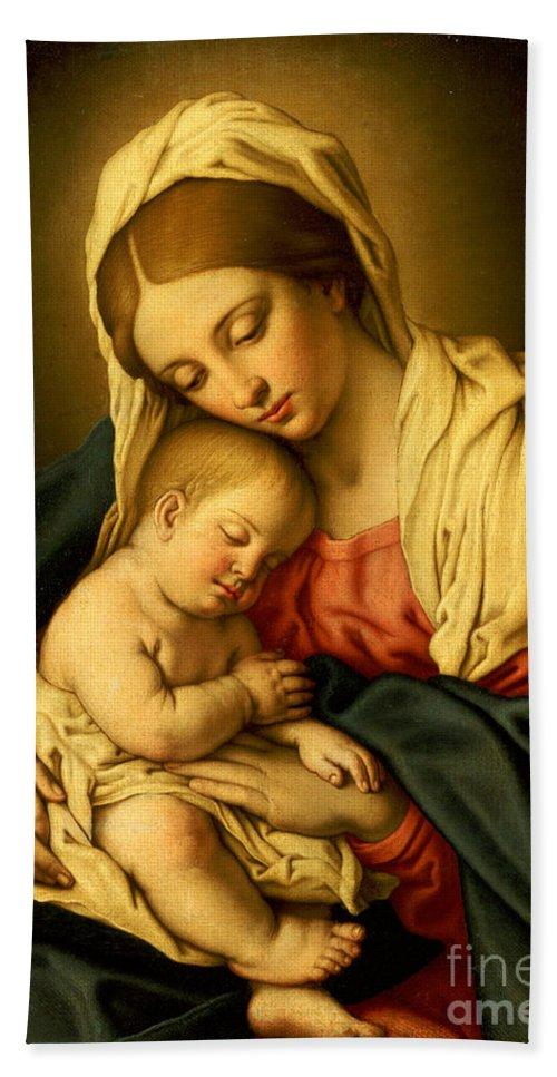 The Madonna And Child Bath Towel for Sale by Il Sassoferrato