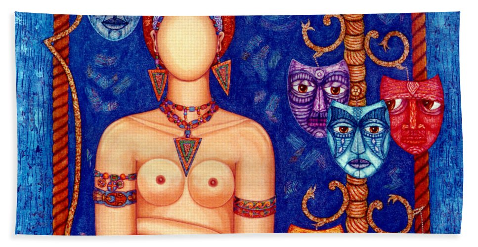 Madwoman Hand Towel featuring the painting The Madwoman by Madalena Lobao-Tello