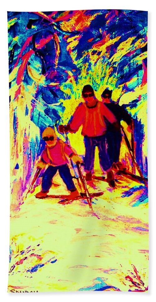 Skis Bath Sheet featuring the painting The Magical Skis by Carole Spandau