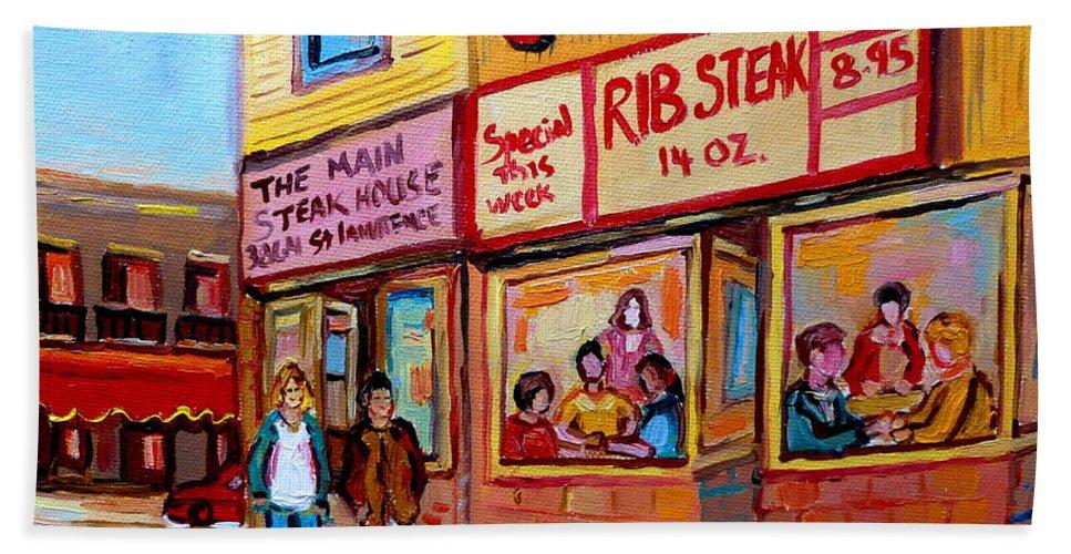 The Main Steakhouse Bath Towel featuring the painting The Main Steakhouse On St. Lawrence by Carole Spandau