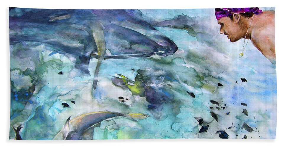 French Polynesia Hand Towel featuring the painting The Man And The Sharks by Miki De Goodaboom