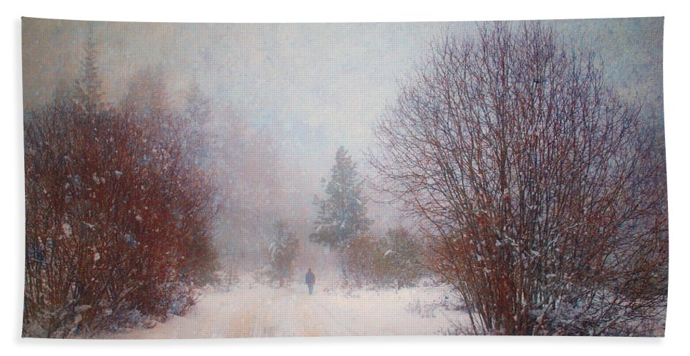 Snow Hand Towel featuring the photograph The Man In The Snowstorm by Tara Turner