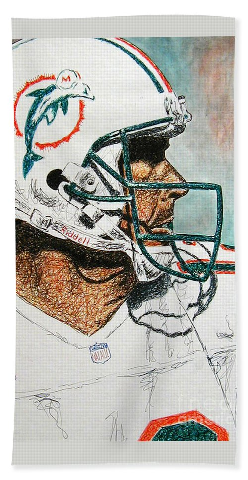 Dan Marino Bath Towel featuring the mixed media The Man by Maria Arango