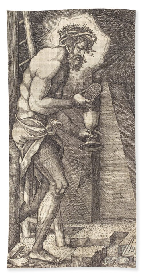 Hand Towel featuring the drawing The Man Of Sorrows At The Foot Of The Cross by Sebald Beham