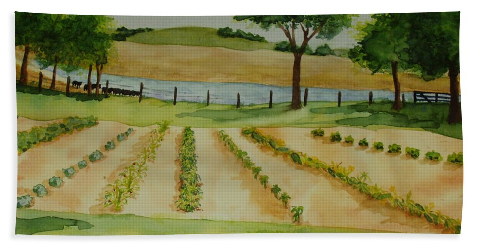 Landscape Hand Towel featuring the painting The Mangan Farm by Vicki Housel