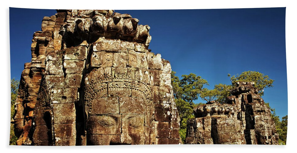 Bayon Temple Bath Sheet featuring the photograph The Many Faces Of Bayon Temple, Angkor Thom, Angkor Wat Temple Complex, Cambodia by Sam Antonio Photography