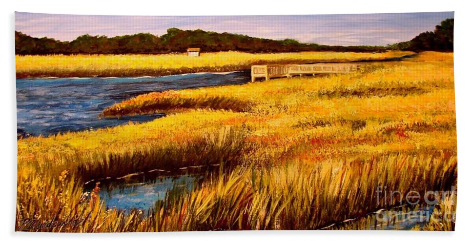 Beaches Hand Towel featuring the painting The Marsh At Cherry Grove Myrtle Beach South Carolina by Patricia L Davidson