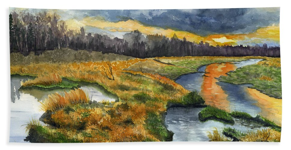 March Bath Sheet featuring the painting The Marsh by Mary Tuomi