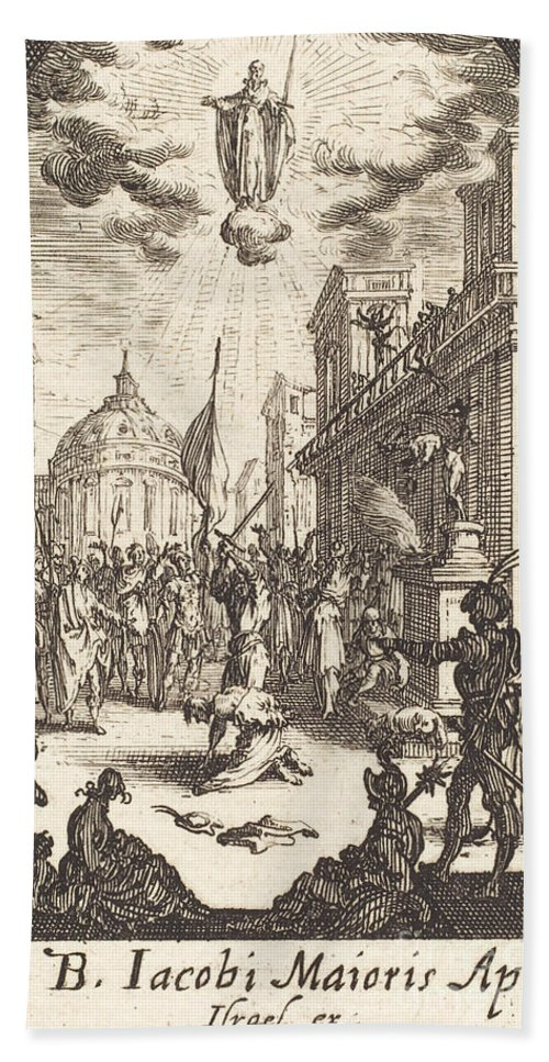 Hand Towel featuring the drawing The Martyrdom Of Saint James Major by Jacques Callot