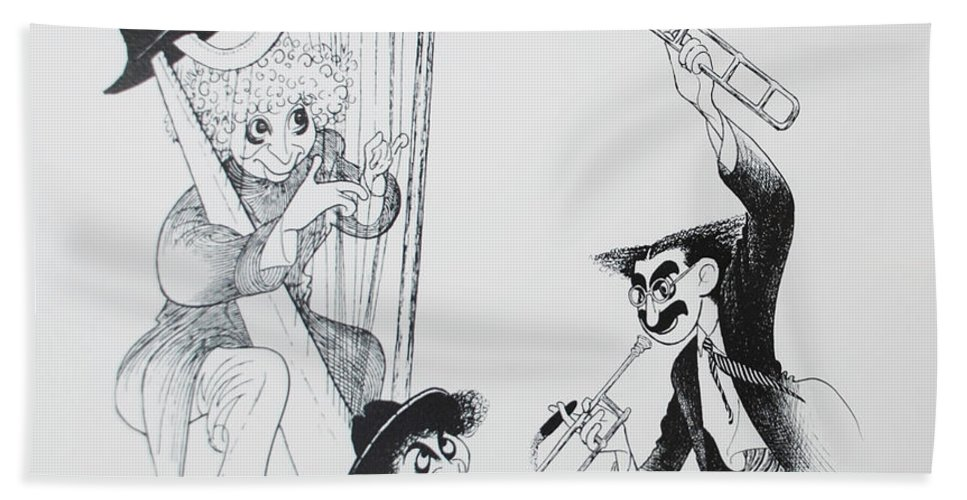 The Marx Brothers Bath Sheet featuring the photograph The Marx Brothers O by Rob Hans