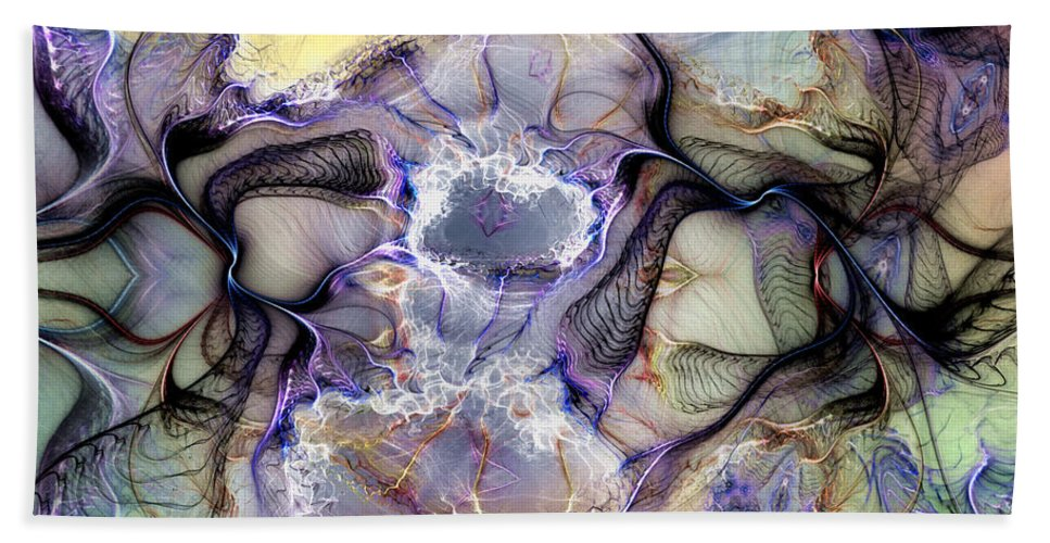 Abstract Bath Sheet featuring the digital art The Matrix Reestablished by Casey Kotas