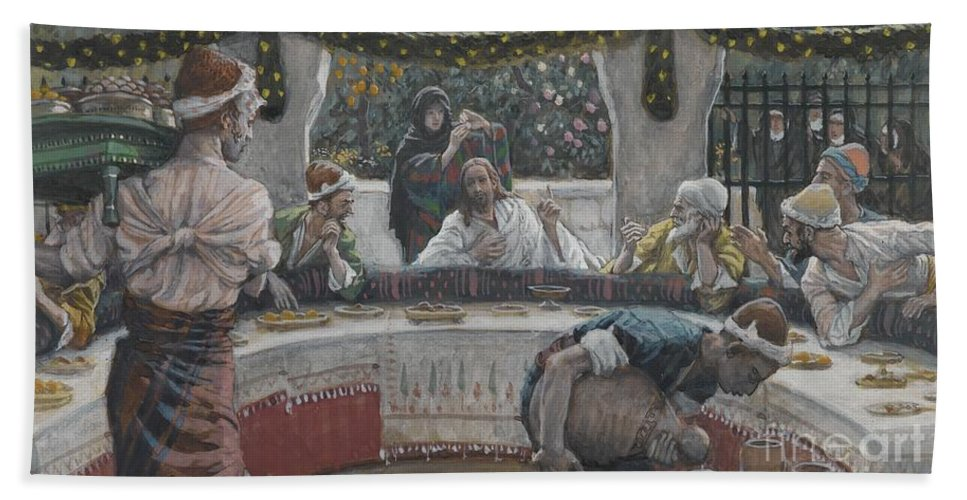Tissot Bath Sheet featuring the painting The Meal In The House Of The Pharisee by Tissot