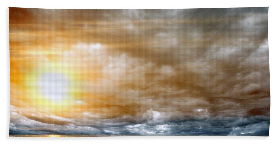Sun Bath Sheet featuring the photograph The Meeting by Munir Alawi