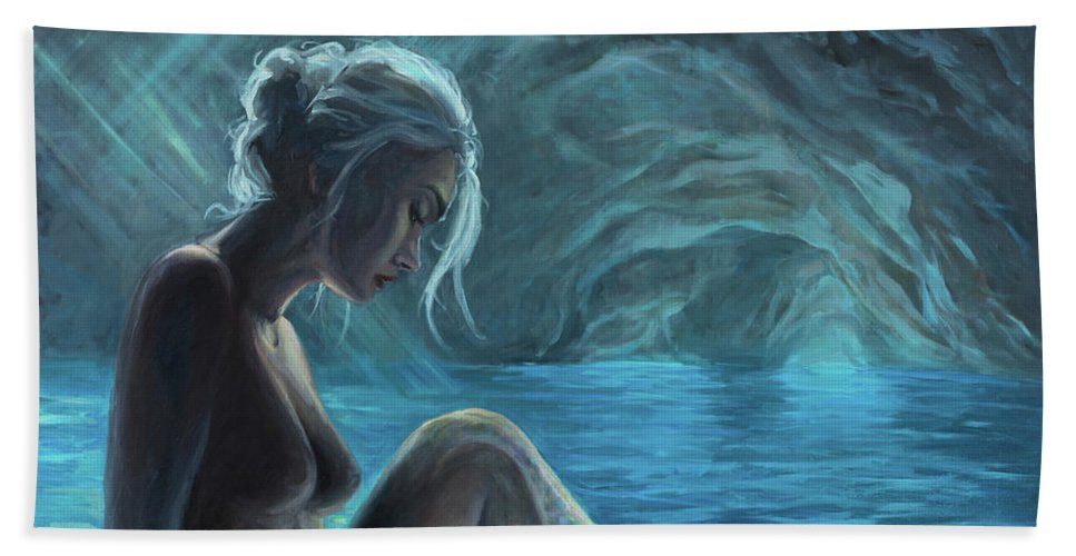 Mermaid Bath Sheet featuring the painting The Mermaid Of The Blue Cave by Marco Busoni