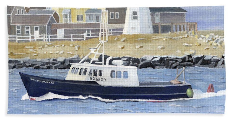 Fishingboat Bath Towel featuring the painting The Michael Brandon by Dominic White