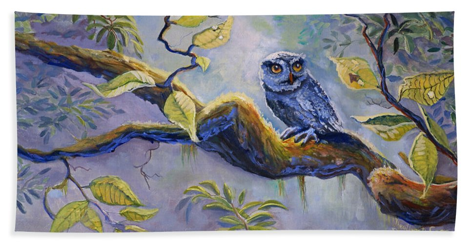 Birds Hand Towel featuring the painting The Midnight Snack by Heather Coen