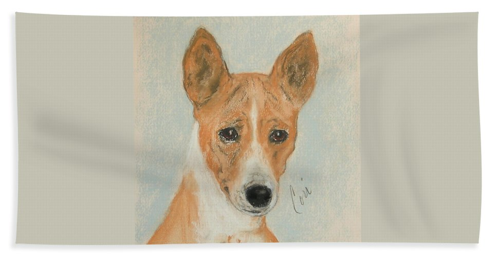 Basenji Hand Towel featuring the drawing The Mighty Hunter by Cori Solomon