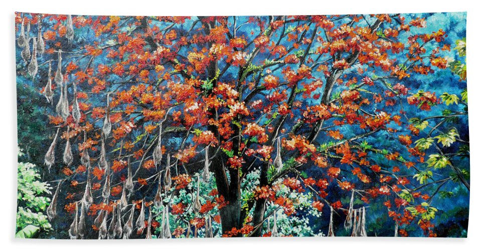 Tree Painting Mountain Painting Floral Painting Caribbean Painting Original Painting Of Immortelle Tree Painting  With Nesting Corn Oropendula Birds Painting In Northern Mountains Of Trinidad And Tobago Painting Bath Towel featuring the painting The Mighty Immortelle by Karin Dawn Kelshall- Best