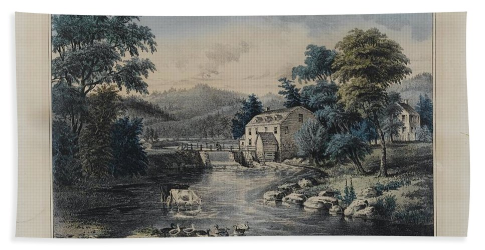 Nathaniel Currier (american Bath Sheet featuring the painting The Mill-stream by Nathaniel Currier