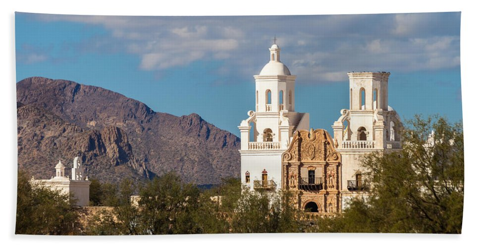 Architecture Bath Sheet featuring the photograph The Mission And The Mountains by Ed Gleichman