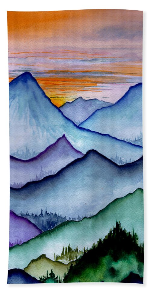 Landscape Bath Sheet featuring the painting The Misty Mountains by Brenda Owen