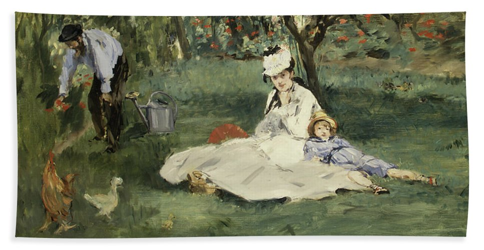 The Monet Family In Their Garden At Argenteuil Bath Sheet featuring the painting The Monet Family In Their Garden At Argenteuil by douard Manet