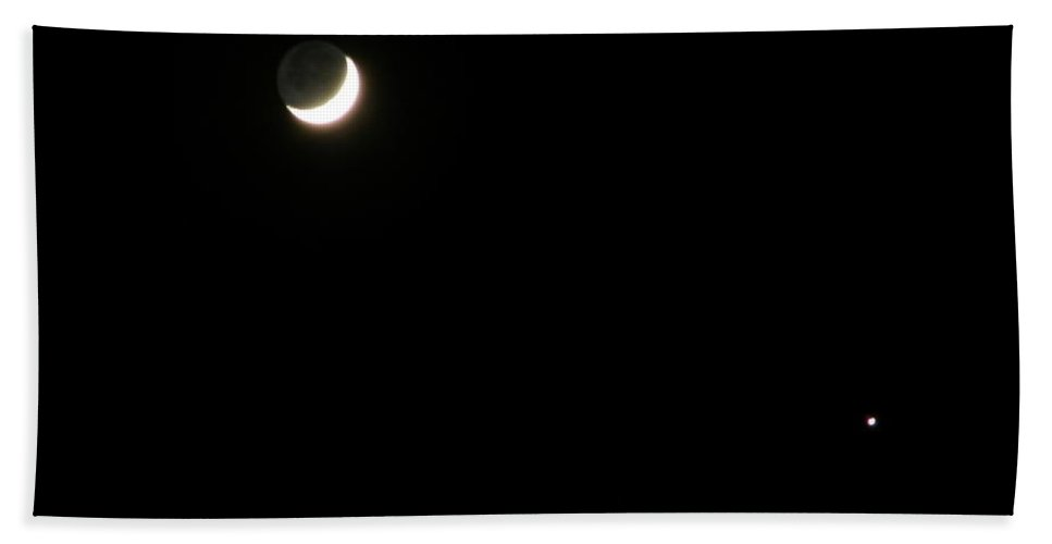 Moon Hand Towel featuring the photograph The Moon And Stars by Gale Cochran-Smith