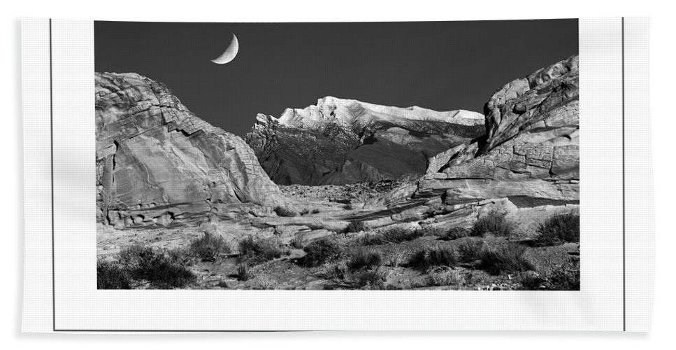 Moon Hand Towel featuring the photograph The Moon And The Mountain Range Poster by Mike Nellums