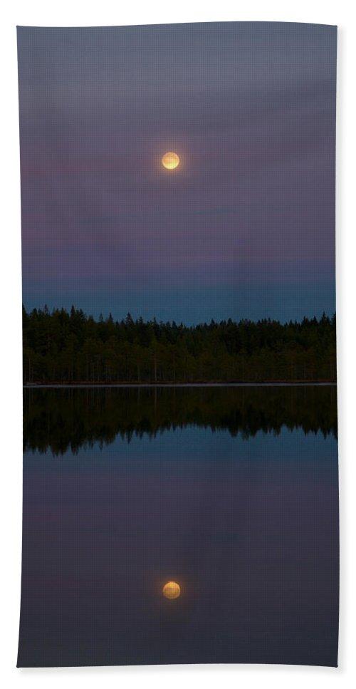 Lehtokukka Bath Sheet featuring the photograph The Moon Over Kirkas-soljanen 3 by Jouko Lehto