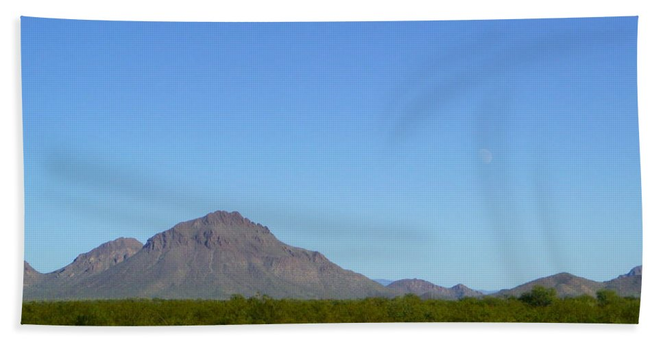 Tucson Bath Sheet featuring the photograph The Moon Over My Mountains by Teresa Stallings