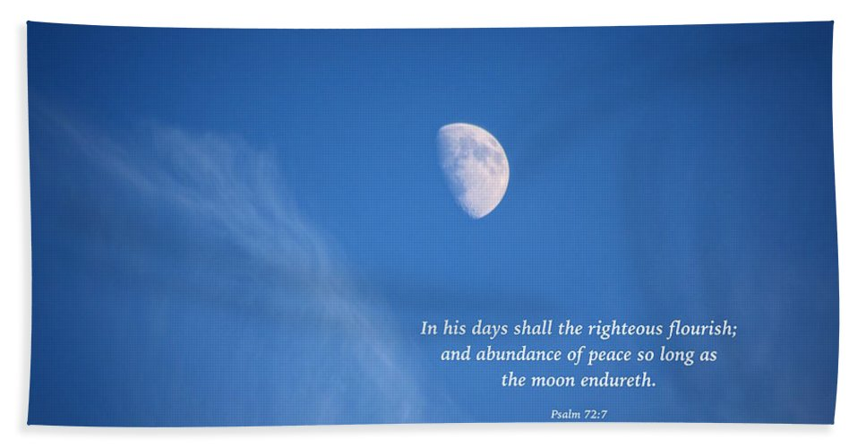 Moon Hand Towel featuring the photograph The Moon With A Psalm by Debbie Nobile