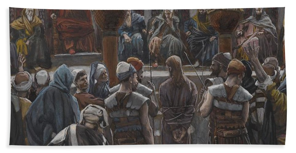 Life Of Christ; Interior; Passion; High Priest; Priests; Elders; Teachers; Male; Decision; Male; Tied Up; Bound; Trial; Tribunal; Jews; Jewish; Guilt; Guilty; Tissot Bath Sheet featuring the painting The Morning Judgement by Tissot