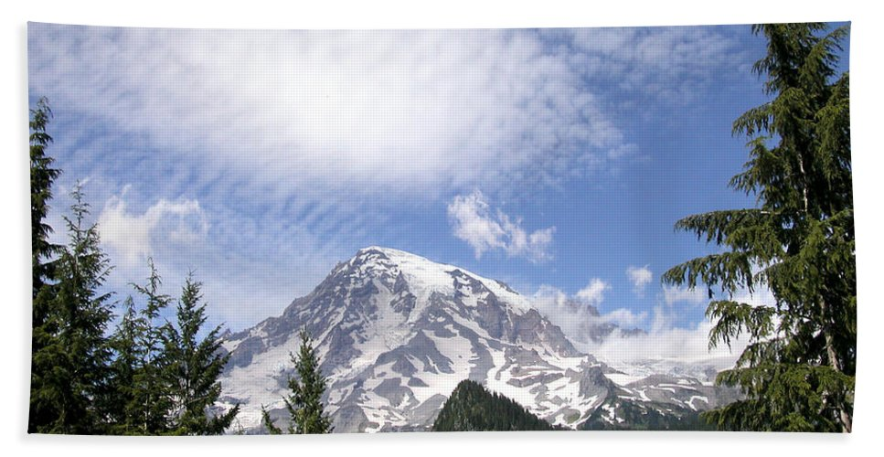 Mountain Bath Sheet featuring the photograph The Mountain Mt Rainier Washington by Michael Bessler