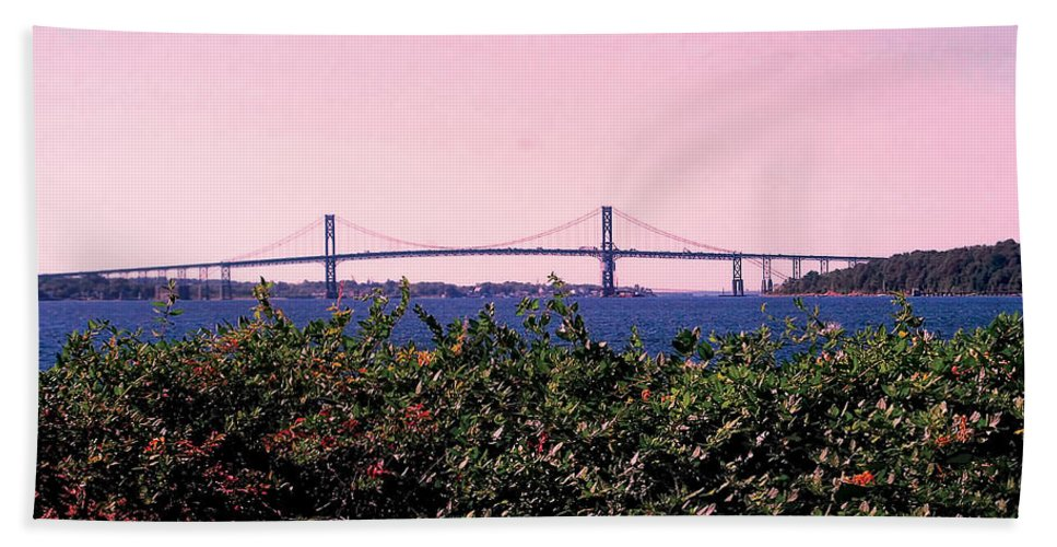 Landscape Photograph Hand Towel featuring the photograph The Mt Hope Bridge Bristol Rhode Island by Tom Prendergast