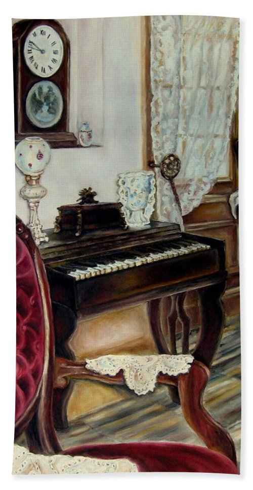 Music Hand Towel featuring the painting The Music Room by Carole Spandau