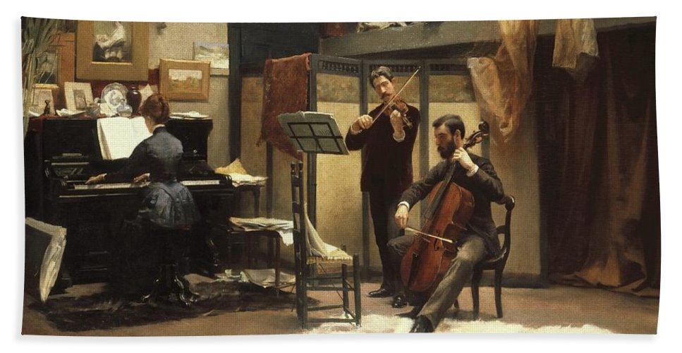 Stacy Tolman (american Bath Sheet featuring the painting The Musicale, by Stacy Tolman