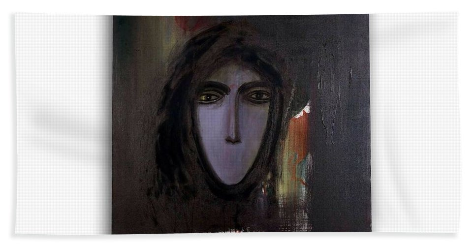 Hand Towel featuring the painting The Muted Woman by Paris Mohan Kumar