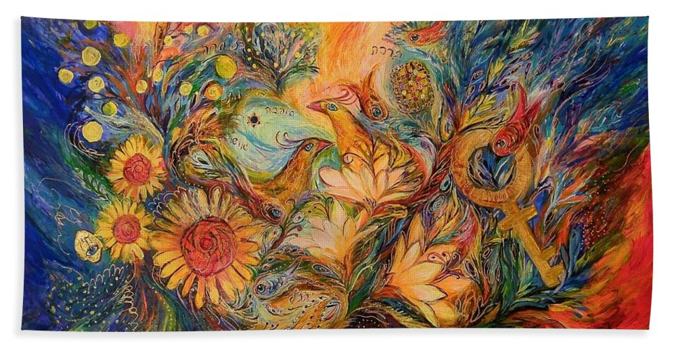 Original Hand Towel featuring the painting The Mystery Of Orange Tree by Elena Kotliarker