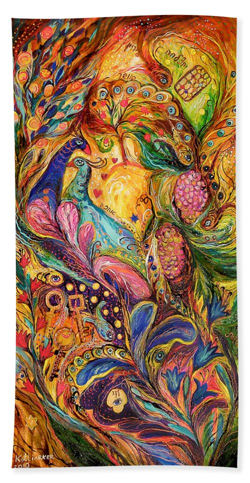 Original Hand Towel featuring the painting The Mystery Of Three Keys by Elena Kotliarker