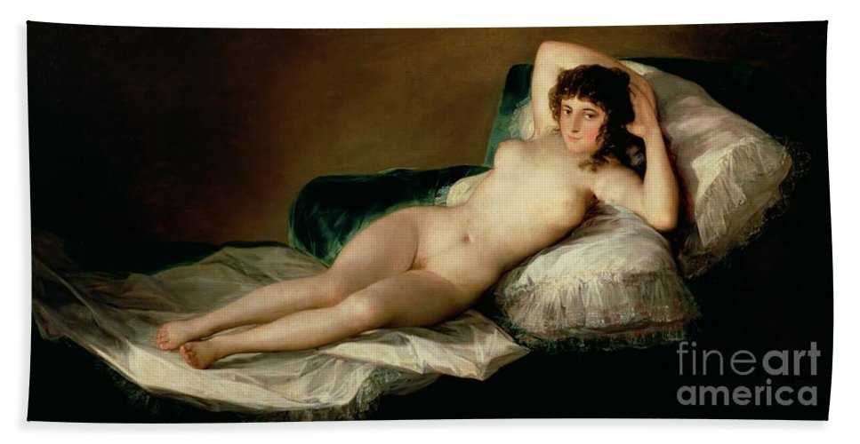Nude Hand Towel featuring the painting The Naked Maja by Goya
