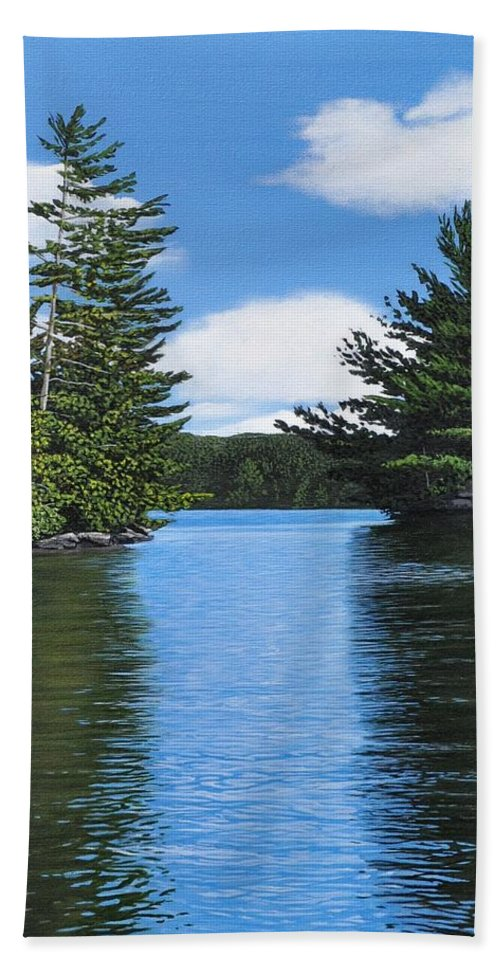 Landscapes Hand Towel featuring the painting The Narrows Of Muskoka by Kenneth M Kirsch