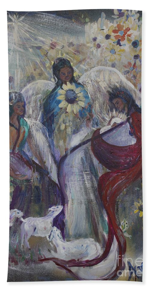 Angel Prints Bath Sheet featuring the painting The Nativity Of The Angels by Avonelle Kelsey
