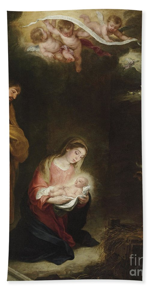 Murillo Hand Towel featuring the painting The Nativity With The Annunciation To The Shepherds Beyond by Bartolome Esteban Murillo