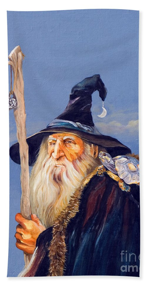 Wizard Hand Towel featuring the painting The Navigator by J W Baker