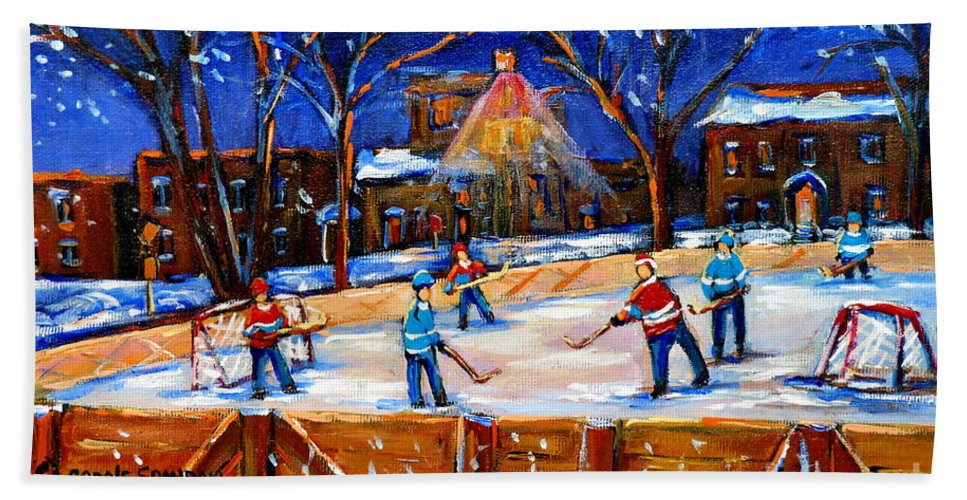Montreal Bath Towel featuring the painting The Neighborhood Hockey Rink by Carole Spandau