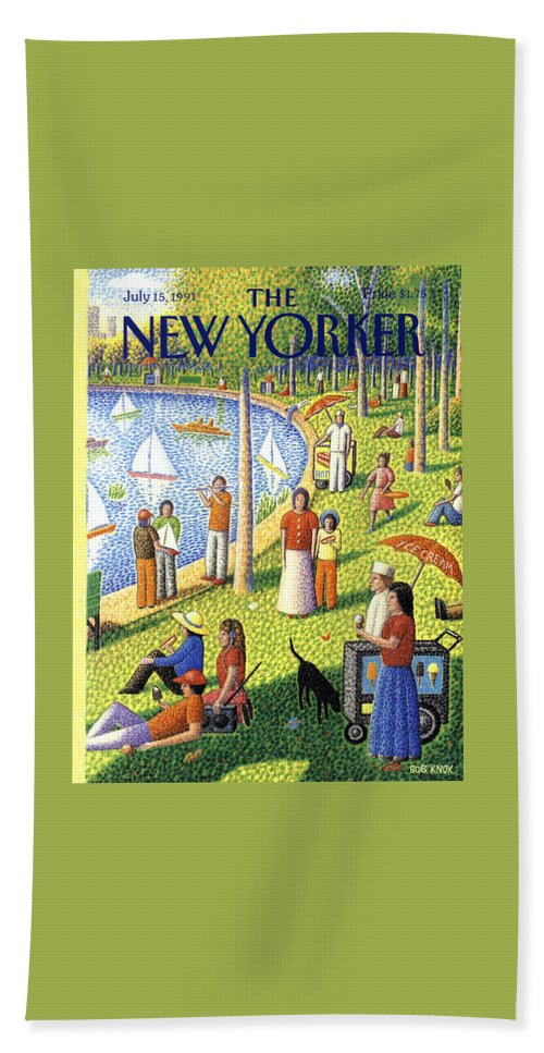 La Grande Jatte Bath Towel featuring the painting The New Yorker July 15th, 1991 by Bob Knox