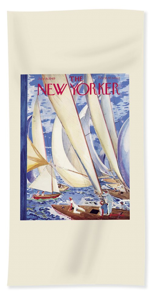 Sports Bath Towel featuring the painting New Yorker July 9, 1949 by Garrett Price